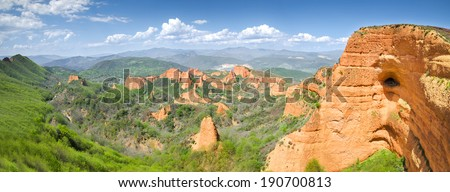Las Medulas panoramic view. Ancient Roman mines, UNESCO, El Bierzo, Leon, Spain - stock photo
