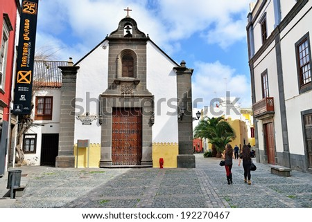 LAS PALMAS, SPAIN - FEB 28, 2014: The chapel of Ermita de San Antonio Abad in Las Palmas. It received a very famous visitor back in 1492, when the explorer Christopher Columbus stopped here - stock photo