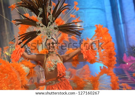 LAS PALMAS, SPAIN - FEBRUARY 2: Unidentified children from dance-group Kisamba from Canary Islands, performs onstage during Children's dance contest on Saturday 2, 2013 in Las Palmas, Spain. - stock photo
