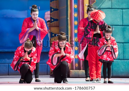 LAS PALMAS, SPAIN - FEBRUARY 23: Unidentified children from Gutierrez Rubalcava from Canary Islands, onstage during Children's Costume performance, on February 23, 2014 in Las Palmas, Spain - stock photo