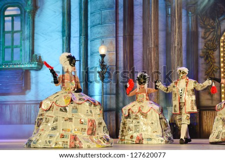 LAS PALMAS , SPAIN - FEBRUARY 7: Unidentified dancers from Las Despeinadas, from Canary Islands, perform during the Adult Costume Competition, for groups on February 7, 2013 in Las Palmas, Spain - stock photo