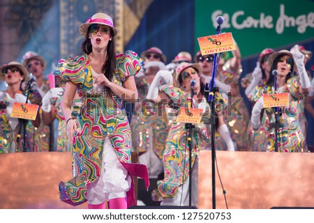 LAS PALMAS , SPAIN - FEBRUARY 5: Unidentified members from Las Lega Nayades, from Canary Islands, performing during the Murgas Contest on February 5, 2013 in Las Palmas, Spain - stock photo