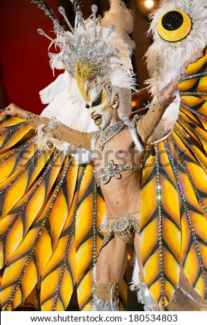 LAS PALMAS, SPAIN-MARCH 7: Drag Kioba from Canary Islands, onstage during The Carnival's Drag Queen Gala on March 7, 2014 in Las Palmas, Spain - stock photo