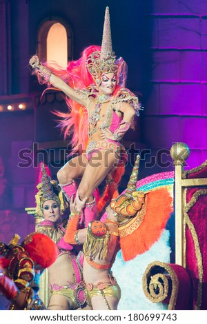 LAS PALMAS, SPAIN-MARCH 7: Drag la Tullida from Canary Islands, onstage during The Carnival's Drag Queen Gala on March 7, 2014 in Las Palmas, Spain - stock photo