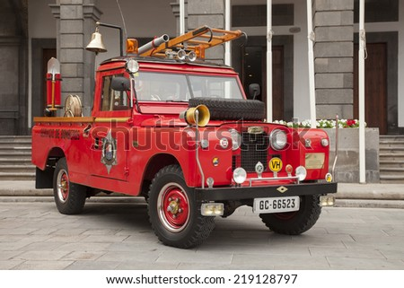 LAS PALMAS, SPAIN - MARCH 08, 2014: Vintage Land Rover fireman car at exhibition.  - stock photo