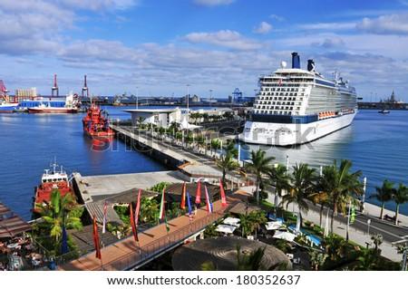 LAS PALMAS, SPAIN - OCTOBER 13: Cruise ship moored in the La Luz Port on October 13, 2013 in Las Palmas de Gran Canaria, Spain. The port of Las Palmas is the 4th most important ports in Spain - stock photo
