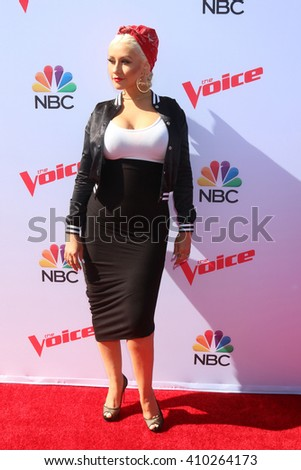 LAS VEGAS - APR 21:  Christina Aguilera at the The Voice Red Carpet Event at the Hyde on April 21, 2016 in Los Angeles, CA - stock photo