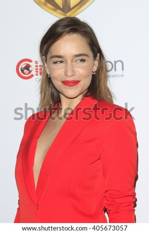LAS VEGAS - APR 12: Emilia Clarke at the Warner Bros. Pictures Presentation during CinemaCon at Caesars Palace on April 12, 2016 in Las Vegas, Nevada - stock photo