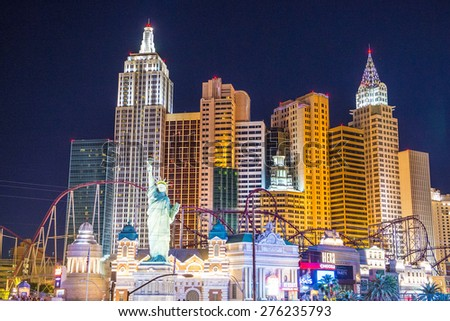 LAS VEGAS - APR 28 : New York-New York Hotel & Casino in Las Vegas on April 28 2015 , This hotel simulates the real New York City skyline and It was opened in 1997. - stock photo