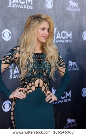LAS VEGAS - APR 6:  Shakira at the 2014 Academy of Country Music Awards - Arrivals at MGM Grand Garden Arena on April 6, 2014 in Las Vegas, NV - stock photo