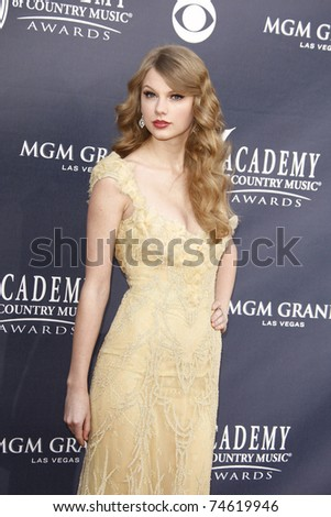 LAS VEGAS - APR 03:  Taylor Swift arrives for the 46th Academy of Country Music Awards at the MGM Grand Hotel and Casino in Las Vegas, Nevada on April 3, 2011. - stock photo