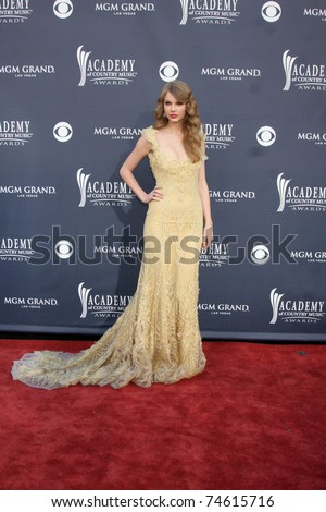 LAS VEGAS - APR 3:  Taylor Swift arriving at the Academy of Country Music Awards 2011 at MGM Grand Garden Arena on April 3, 2011 in Las Vegas, NV. - stock photo