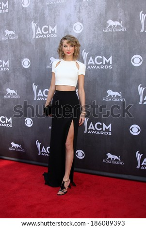 LAS VEGAS - APR 6:  Taylor Swift at the 2014 Academy of Country Music Awards - Arrivals at MGM Grand Garden Arena on April 6, 2014 in Las Vegas, NV - stock photo