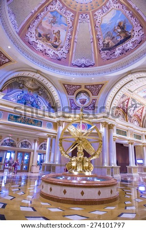 LAS VEGAS - APR 23 : The interior of the Venetian hotel & Casino in Las Vegas on April 23, 2015. With more than 4000 suites it's one of the most famous hotels in the world. - stock photo