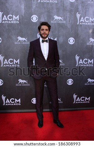 LAS VEGAS - APR 6:  Thomas Rhett at the 2014 Academy of Country Music Awards - Arrivals at MGM Grand Garden Arena on April 6, 2014 in Las Vegas, NV - stock photo