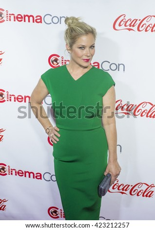 LAS VEGAS - APRIL 14 : Actress Christina Applegate, one of the recipients of the Female Stars of the Year Award, attends the CinemaCon Big Screen Achievement Awards on April 14 2016 in Las Vegas - stock photo