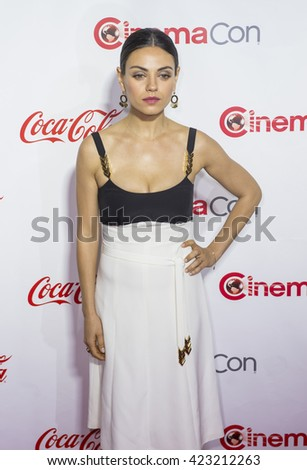 LAS VEGAS - APRIL 14 : Actress Mila Kunis, one of the recipients of the Female Stars of the Year Award, attends the CinemaCon Big Screen Achievement Awards on April 14 2016 in Las Vegas - stock photo