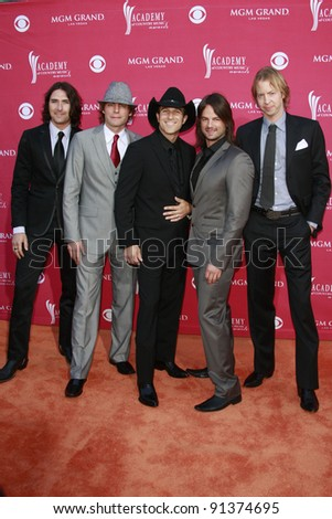 LAS VEGAS - APRIL 5: Andrew Nielson, Stokes Nielson, Ryder Lee, Manny Medina and Jeff Potter of The Lost Trailers at the 44th Academy Of Country Music Awards on April 5, 2009 in Las Vegas, Nevada - stock photo