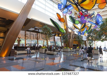 LAS VEGAS - APRIL 27,: Aria hotel on April 27, 2013  in Las Vegas. At the time of its opening in 2009, Aria was the 9th-largest hotel in the world as measured by the total number of rooms. - stock photo