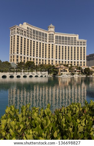 LAS VEGAS - APRIL 27, 2013 - The Bellagio on April 27, 2013  in Las Vegas. Bellagio has won the prestigious AAA Five Diamond Award (the highest level for restaurants and lodgings) 11 times. - stock photo