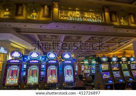 LAS VEGAS - April 13 : The Caesars Palace casino on April 13, 2016 in Las Vegas. Caesars Palace is a luxury hotel and casino located on the Las Vegas Strip. Caesars has 3,348 rooms in five towers  - stock photo