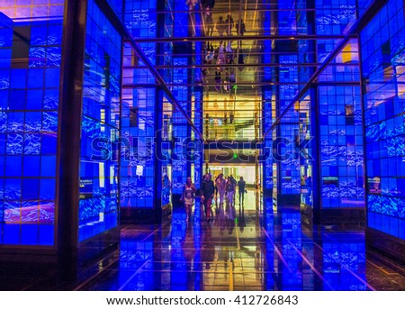 LAS VEGAS - APRIL 13 : The Cosmopolitan hotel lobby in Las Vegas on April 13 2016. The Cosmopolitan opened in 2010 and it has 2,995 rooms and 75,000 sq ft casino. - stock photo