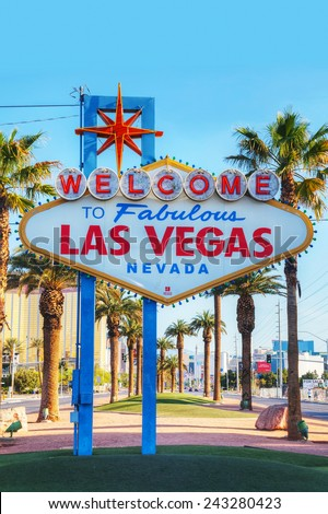 LAS VEGAS - APRIL 19: Welcome to Fabulous Las Vegas sign on April 19, 2014 in Las Vegas, Nevada. It's a Las Vegas landmark funded in May 1959 and erected soon after by Western Neon. - stock photo