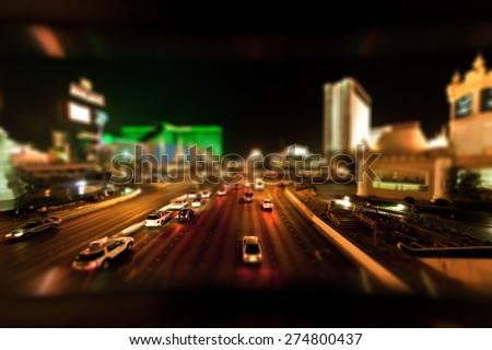 Las Vegas at Night, Tilt Shift - stock photo
