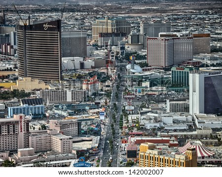 LAS VEGAS - AUG 11: City aerial skyline on August 11, 2007 in Las Vegas. The city attracts 40 million tourists every year. - stock photo