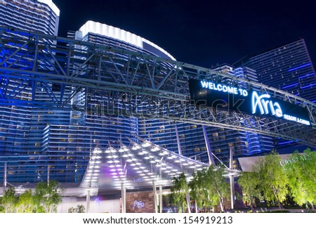 LAS VEGAS - AUG 26 :The Aria Resort and Casino in Las Vegas on August 26 2013. The Aria is a luxury resort and casino opened on 2009 and is the world's largest hotel to receive LEED Gold certification - stock photo