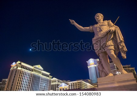 LAS VEGAS - AUG 13 :The Caesar Palace hotel on August 13 2013 in Las Vegas. Caesars Palace is a luxury hotel and casino located on the Las Vegas Strip. Caesars has 3,348 rooms in five towers  - stock photo