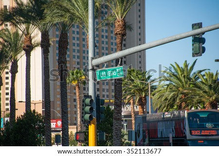 LAS VEGAS - AUGUST 03 - Corner of Las Vegas Boulevard at number 2500 on August 03, 2015 in Las Vegas - stock photo