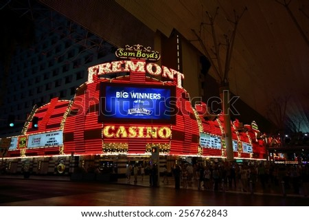 LAS VEGAS - AUGUST 14, 2014: Sam Boyd's Fremont Hotel and Casino illuminated by night, on August 14, 2014 in Las Vegas. It is located in Downtown Las Vegas, on the Fremont Street Experience.  - stock photo