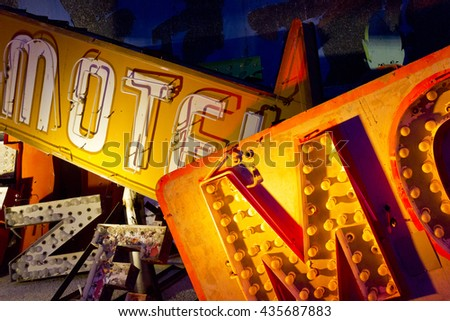 Las Vegas - Circa May 2015: Discarded Las Vegas Motel Sign and Neon Letters I - stock photo