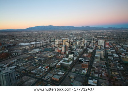 LAS VEGAS - CIRCA 2014: Vegas sunset aerial panorama, featured with world class hotels and casino on CIRCA 2014 in Las Vegas. - stock photo