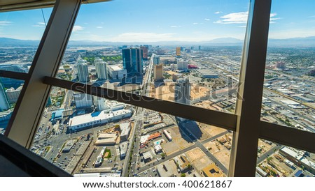 Las Vegas cityscape panorama from the top of the Stratosphere Tower with architectural details, Las Vegas, USA - stock photo