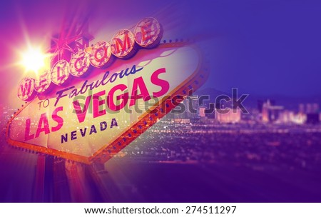 Las Vegas Concept Photo Collage. One Night in Vegas with Vegas Welcome Sign and Strip Panorama. - stock photo