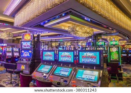 LAS VEGAS - DEC 18 : The Interior of Cosmopolitan hotel and casino on December 18 2015 in Las Vegas. The Cosmopolitan opened in 2010 and it has 2,995 rooms and 75,000 sq ft casino. - stock photo