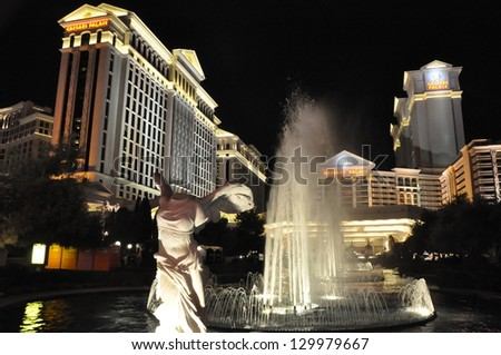 LAS VEGAS - DECEMBER 4: Caesars Palace hotel and casino on December 4, 2012 in Las Vegas. Caesars Palace opened in the 1960's and has a Roman Empire theme. - stock photo