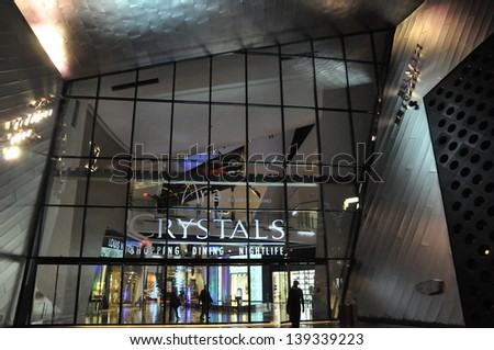 LAS VEGAS - DECEMBER 6: Crystals Mall, as seen on December 6, 2013 in Las Vegas, Nevada. In October 2009, Crystals became the largest retail district to receive LEED+ Gold Core & Shell certification. - stock photo