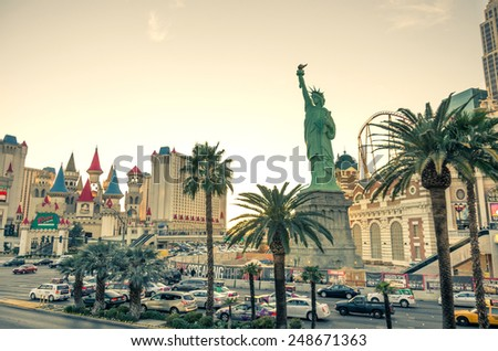 LAS VEGAS - DECEMBER 6, 2013: New York New York casino on the Strip,Las Vegas.Replica of the Statue of Liberty is 150 ft and the property opened in 1997. - stock photo