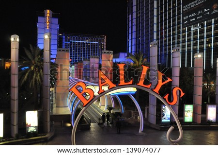 LAS VEGAS - DECEMBER 4: The entrance to Las Vegas monorail at Bally's Las Vegas on December 4, 2012 in Las Vegas, Nevada. Bally's is located on the Strip and has over 2,800 rooms available for guests. - stock photo