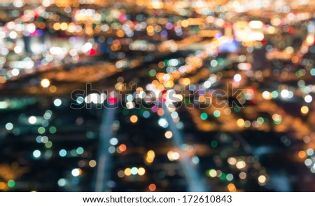 Las Vegas Downtown - Defocused lights bokeh - stock photo