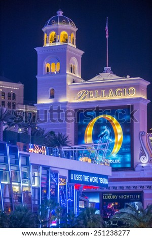 LAS VEGAS - FEB 04 : Bellagio hotel and casino on February 04 , 2015 in Las Vegas. Bellagio is a luxury hotel and casino located on the Las Vegas Strip. The Bellagio opened on 1998. - stock photo
