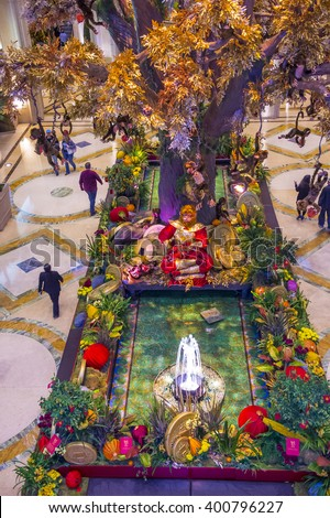 LAS VEGAS - FEB 21 : Chinese new year decorations at the Venetian hotel & Casino in Las Vegas on February 21, 2016. With more than 4000 suites it's one of the most famous hotels in the world. - stock photo