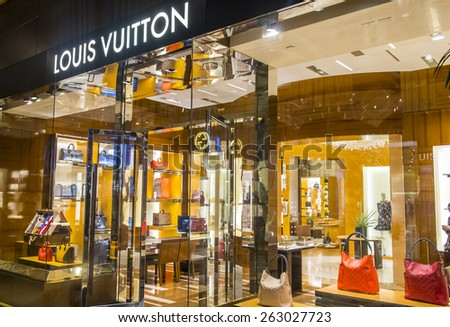 LAS VEGAS - FEB 18 : Exterior of a Louis Vuitton store in Las Vegas strip on February 18 , 2015. The Louis Vuitton company operates in 50 countries with more than 460 stores worldwide - stock photo
