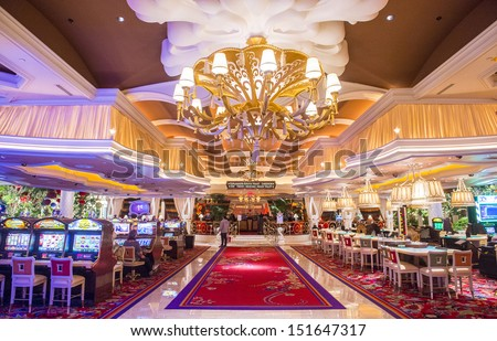 LAS VEGAS -FEB 26 : The the interior of Wynn Hotel and casino on February 26 2013 in Las Vegas. The hotel has 2,716 rooms and opened in 2005. - stock photo