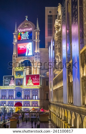 LAS VEGAS - FEB 04 : The Venetian hotel in Las Vegas on February 04 , 2015. With more than 4000 suites it`s one of the most famous hotels in the world - stock photo