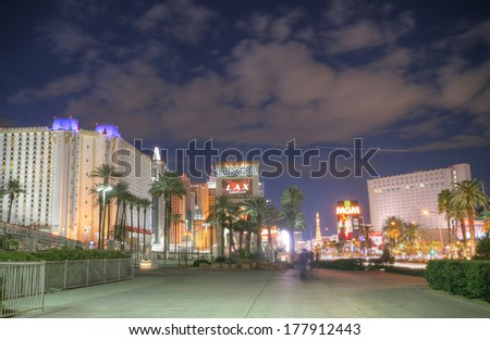 LAS VEGAS - FEB 3.   Vegas Strip in the sunset on February 3, 2014 in Las Vegas.  - stock photo