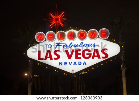LAS VEGAS -JAN 24 : The Welcome to Las Vegas Sign on January 24, 2013 in Las Vegas. Las Vegas in 2012 is broke the all-time visitor volume record of 39-plus million visitors - stock photo